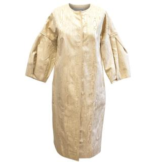 Carolina Herrera Gold Jacquard Coat