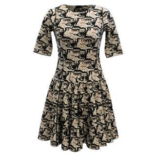 Alexander McQueen Stretch-Knit Tiger Skater Dress