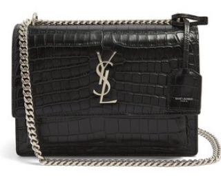 Saint Laurent Black Crocodile Embossed Leather Medium Sunset Bag