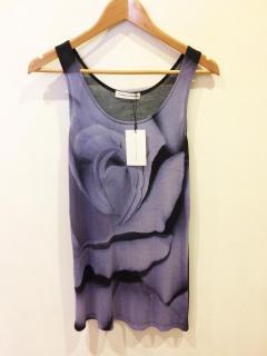 Jonathan Saunders Black/Purple Rose Print Jersey Long Vest