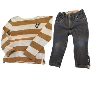 Burberry Jeans and Long sleeves T-shirt Set
