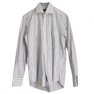 Hugo Boss mens White & Blue plaid shirt