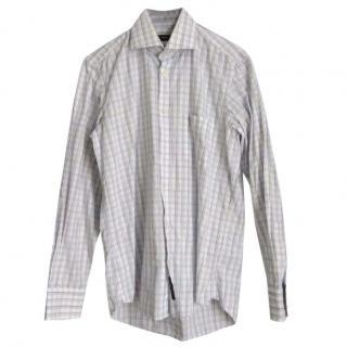 Hugo Boss mens White & Blue plaid shirt