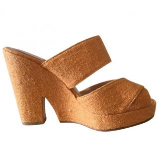 Joeseph Azagury Orange Wedge Sandals