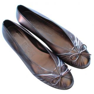 Salvatore Ferragamo Grey Ballerinas