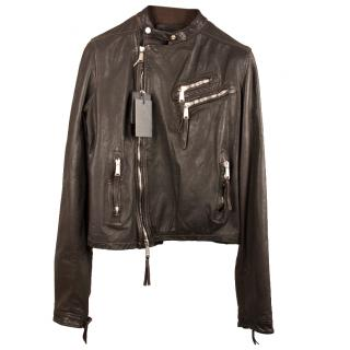 Dsquared2 Brown Leather Biker Jacket