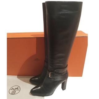 Hermes black leather heeled boots