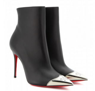 Christian Louboutin Black and Silver Ankle Boots