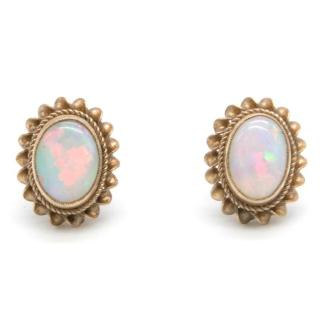 Gold and Opal Stud Earrings
