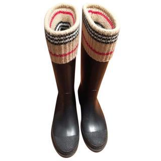 Burberry nova plaid rain boots wellies