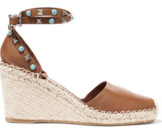 VALENTINO Textured-leather espadrille wedge sandals
