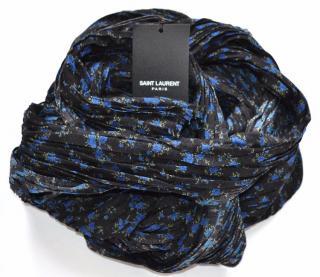 Saint Laurent black-blue floral pleated wool-silk scarf