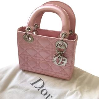 Christian Dior Lady Dior Micro in Pink Satin with Silver Hardware