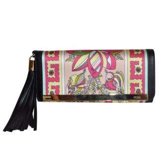 PUCCI - SILK AND LEATHER TASSLE CLUTCH