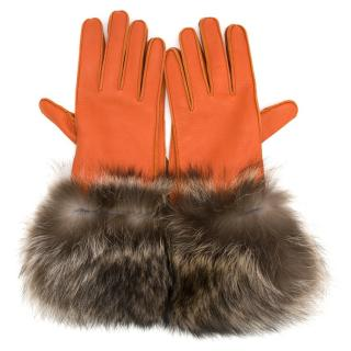 Loro Piana Leather and Fur Gloves
