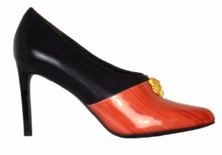 KENZO leather heels with gold tiger logo
