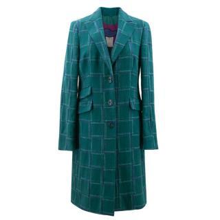 Etro Teal Check Coat