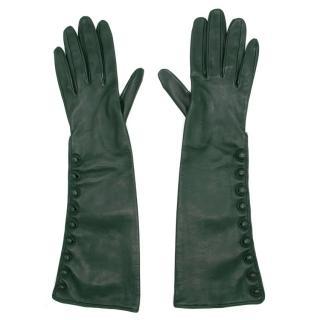 Bespoke Green Leather Long Gloves