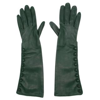 Bespoke Green Leather Long Gloves