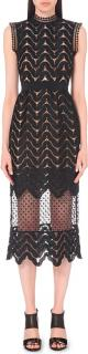 Self portrait midi high neck giupure lace scallop dress