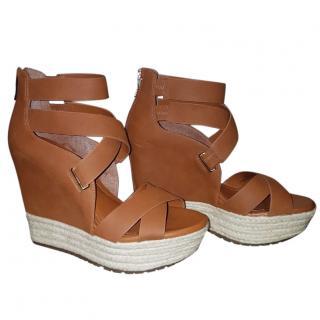 BCBG Camel Wedge Sandals