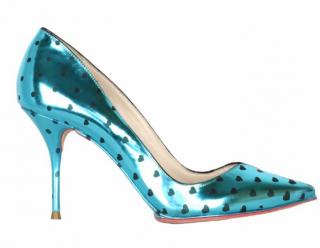 Sophia Webster polka dot metallic turquoise stiletto heels