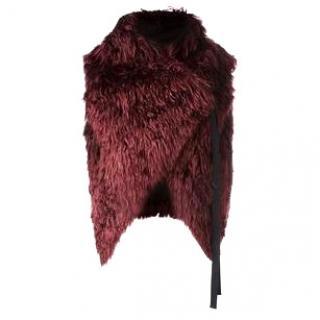 ANN DEMEULEMEESTER Red Fur Gilet