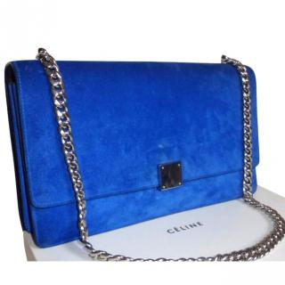 CELINE blue suede flap bag