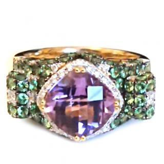 Vintage Signed cocktail ring 18ct gold garnet diamond, amethyst