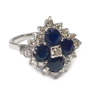 Fine 18ct White Gold 2ct Sapphire & 0.46ct Diamond Ring