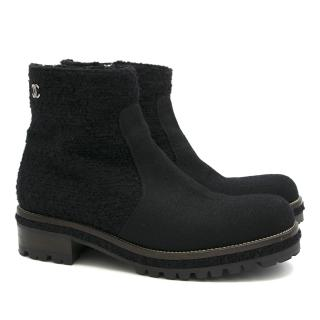 Chanel Wool Cleated Ankle Boot