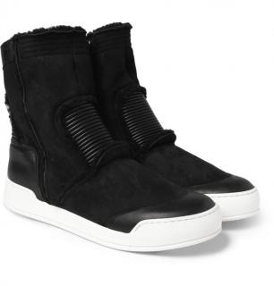 Balmain Shearling High-top Sneakers