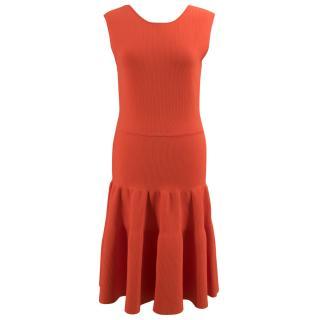 Issa Burnt Orange Ribbed Flare Dress