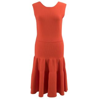 Issa Burnt Orange Ribbed Flare Dress