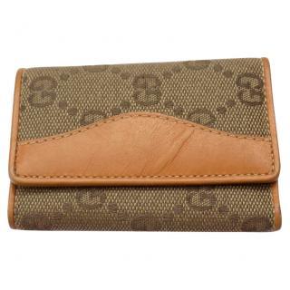GUCCI Vintage Monogram Beige / Tan Key Case / Wallet.