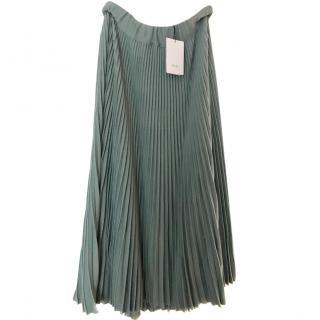 Celine MIDI pleated green skirt