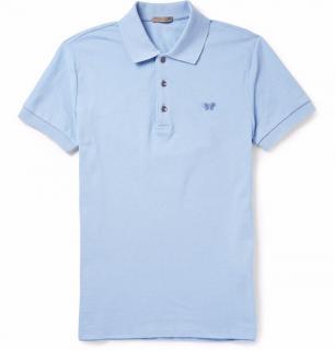 Bottega Veneta Blue Cotton Piquet Polo Shirt