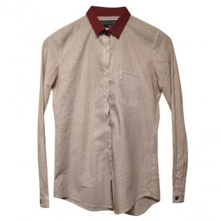 The Kooples Burgundy Striped Shirt