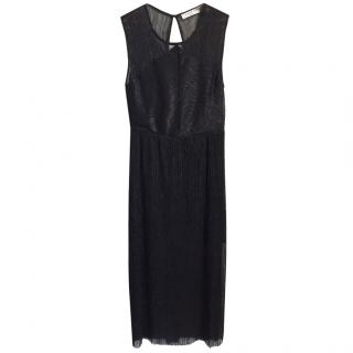 SANDRO maxi black dress with open back