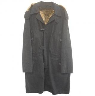 Burberry Men's Canvas/ Fur lined Coat,