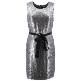 DKNY Silver Sequin Dress With Belt