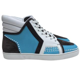 Christian Louboutin high top white/blue leather