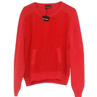 Kooples Red Mix Woven & Knit Top