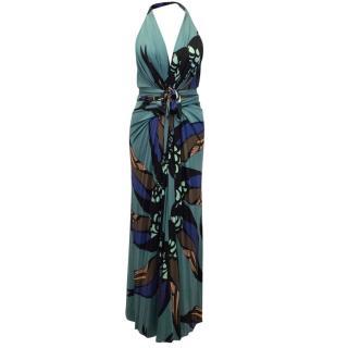 Issa Patterned Halter Neck Silk Dress