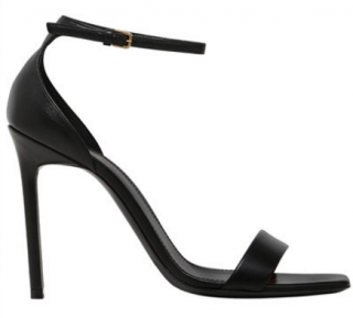 Saint Laurent Amber Ankle Strap 105 Sandal in Black Leather