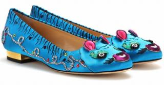 Charlotte Olympia Crouching Tiger embroidered ballet shoes