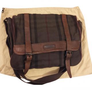 Burberry Leather Trim Messenger Bag