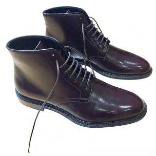 Winter Season - Burberry Lace Up Ankle Boots in Brown Italian Leather