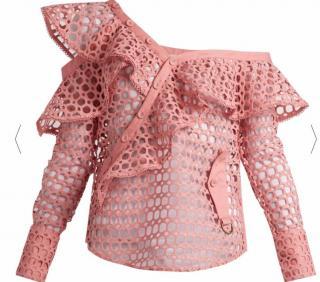 SELF-PORTRAIT One-shoulder guipure-lace top