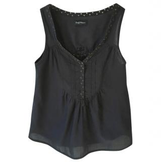 ZADIG & VOLTAIRE 'Tandoori' charcoal v neck cotton studded vest top